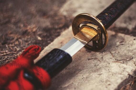 Handmade Japanese Sword, authentic 'wakizashi', fine detailed, 55SI7 spring steel, full hardened, 50 HRC, sharpened