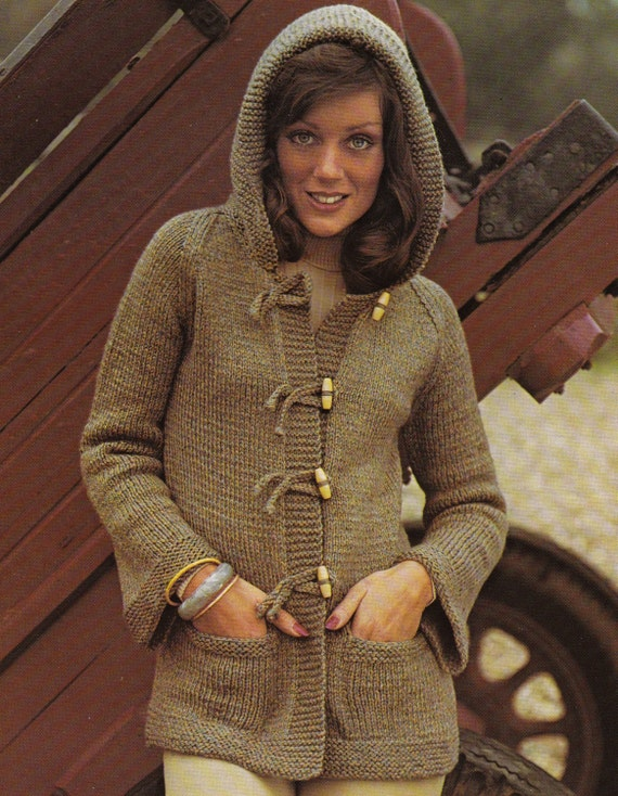 Knitting Pattern Ladies Hoodie : Vintage Knitting Pattern Instructions to Make a by ...