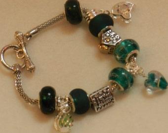 European Style Charm Bracelet in shades of Green V2330