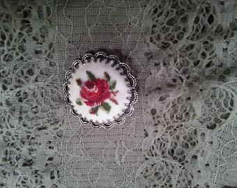 Vintage Hand Stitched Rose Brooch