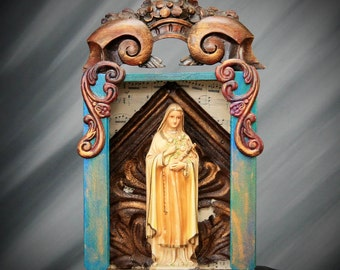 St Theresa Nicho, Assemblage Art, Upcycled Art, Mixed Media Shrine
