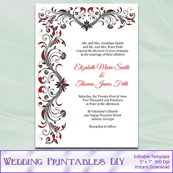 Free Red And White Wedding Invitation Templates : DIY Printable Wedding Invitation Templates - Red Black and White ...