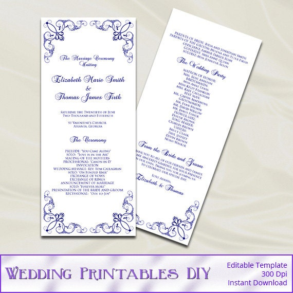 navy wedding ceremony programs template by weddingprintablesdiy. Black Bedroom Furniture Sets. Home Design Ideas