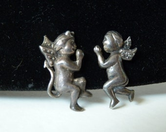 VALENTINE Vintage angel and devil screwback earrings