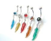Feather Navel Ring You Choose Color, Enameled Navel Ring, Belly Button Jewelry, Feather Navel Rings, 14g Navel Ring. 118
