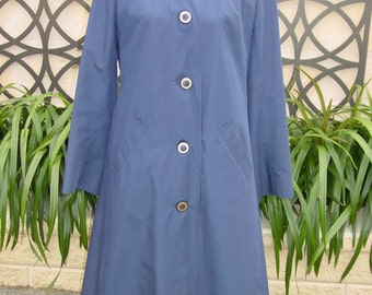 VINTAGE 1980's AQUASCUTUM blue weatherproof trench coat overcoat Sz14 EUC