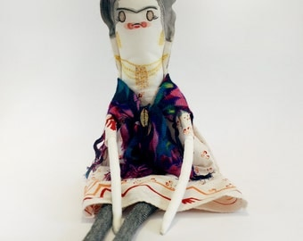 Hand painted illustrated art doll - Frida Kahlo - made to order!