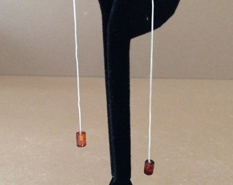 Sterling Silver And Amber Long Dangle Earrings