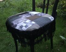 Brown grey Chair cushions, Nr. 2, patchwork pillow, cotton, polyester, silk fringe, hand made by himmeldurchnadeloehr, modern baroque