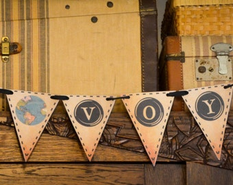 BON VOYAGE (Vintage Typewriter Key) Printable Party Banner and Decoration