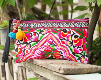 Village Of Peacocks Hmong Clutch Bag Hill Tribe Handmade Thailand Fair Trade (BG308WHIP)