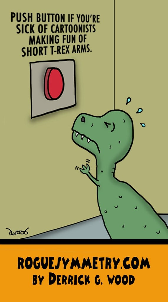dinosaur t-rex short arms cartoonist rogue symmetry derrick g wood