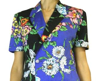 Vintage Gianni VERSACE jacket short sleeves floral pattern VERSUS by Gianni Versace
