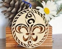 Fleur de Lis wood ornament woodcut lily iris flower wooden Fleur de Lis decoration