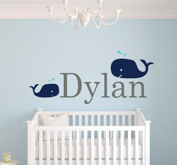 Items similar to whale wall decal personalized name wall for Stickers habitacion bebe
