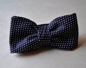 Handmade Navy and White Polka Dot Men's Adjustable Bow Tie