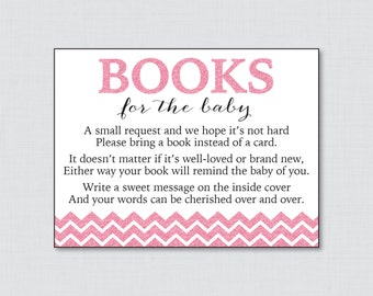 Printable Pink Glitter Baby Shower Bring A Book Instead Of A Card  Invitation Inserts   Pink