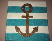 Glitter Aqua & White stripes and gold anchor wall decor on canvas