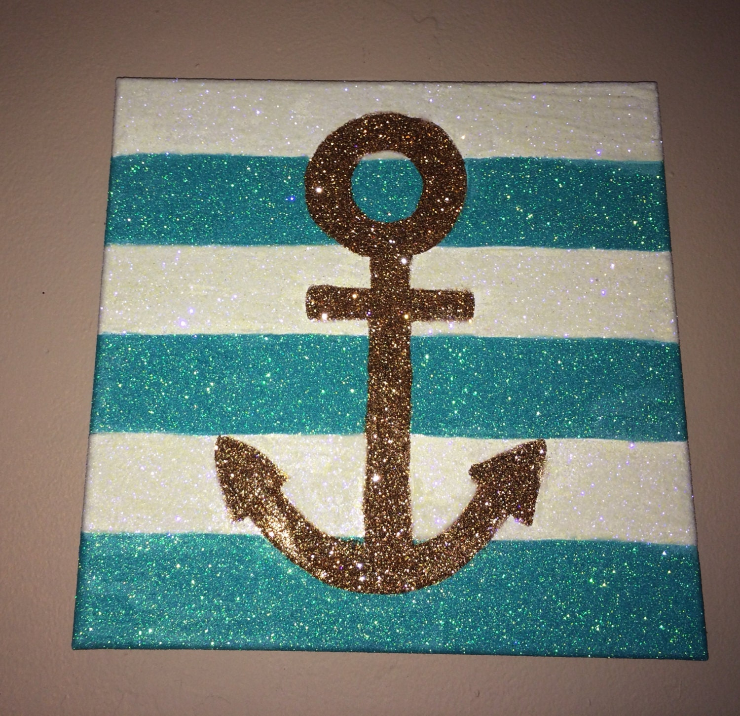 Glitter aqua white stripes and gold anchor wall decor on - Sparkle wall decor ...