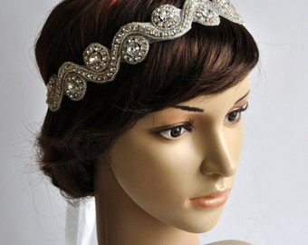 Rhinestone Tie on Headband headpiece, Headband, Wedding Headband, ribbon headband, Bridal rhinestone head piece