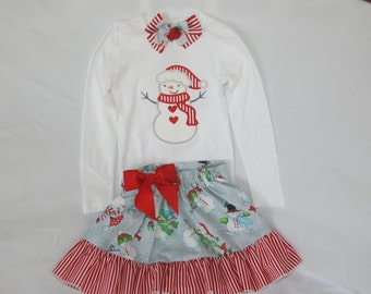 Snowman Winter/Christmas Outfit! Baby/Toddler/Girls Snowman Applique Top with Ruffle Skirt and Bow!--Snowman Christmas outfit/Snowman outfit