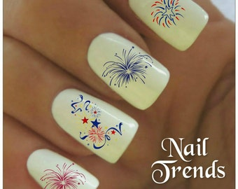 Firework nails etsy fireworks nail decal patriotic july 4th memorial day 20 vinyl adhesive decals nail tattoos nail art prinsesfo Image collections