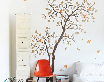 Large Forest Baby nursery Tree vinyl wall decal with birds mural, wall sticker -NT027