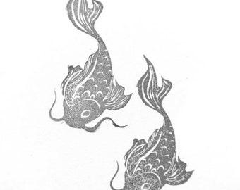 Koi Fish Rubber Stamp   021116