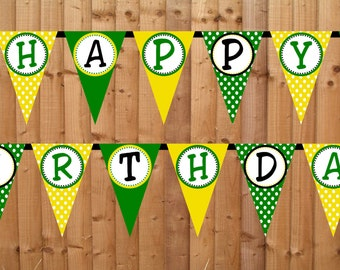 Tractor Time Happy Birthday Banner- INSTANT DOWNLOAD - Printable Party Decorations