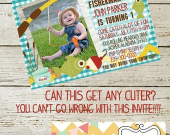 Fishing Birthday Invite - Printable - Customizable - Party Pack