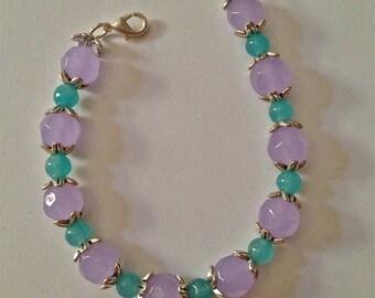 Bracelet, Alexandrite JuneBirthstone, Aquamarine MarchBirthstone, Silver Beadcaps, ColorChange