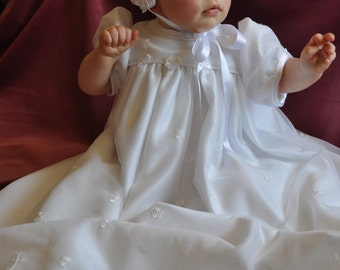 Embroidered Tulle Christening Gown with bonnet and bootees