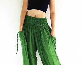 Women Harem Pants Yoga Pants Aladdin Pants Maxi Pants Baggy Pants Gypsy Pants Rayon Genie Pant Hippie Pants Trouser Forest Green (TC56)