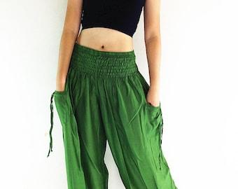 PLUS SIZE XXL Women Plus Size Pants Yoga Pants Aladdin Pants Baggy Pants Gypsy Pants Rayon Pants Hippie Pants Trouser Forest Green (TC56)