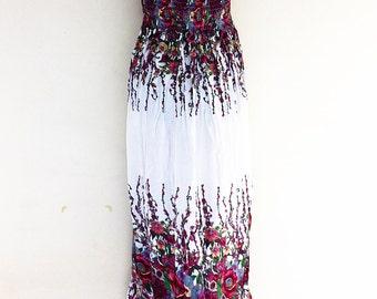 Women Maxi Dress Gypsy Dress Boho Dress Hippie Dress Summer Beach Dress Long Dress Party Dress Clothing Flower Printed White (DL29)