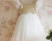 Beautiful Childrens Sequined tulle dress, Flower girl dress, Photo Prop dress, Princess dress, Spring dress, Summer dress