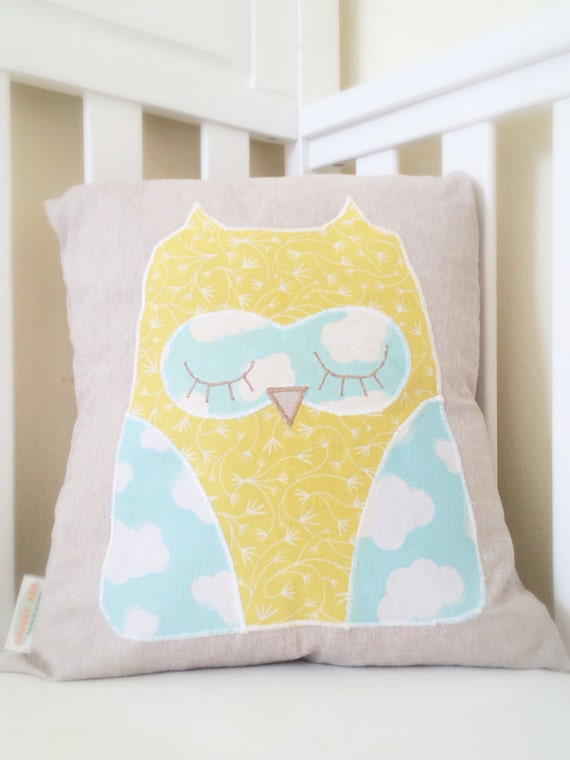 Owl nursery cotton : Blue yellow owl organic cotton applique on decorative linen throw ...