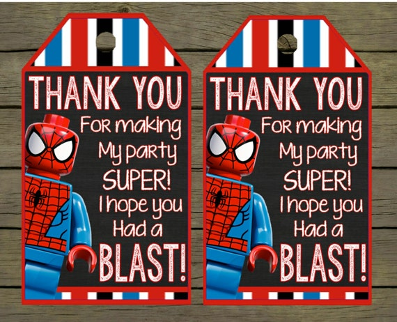Spiderman Digital thankyou - thank you card - tag Birthday Digital ...