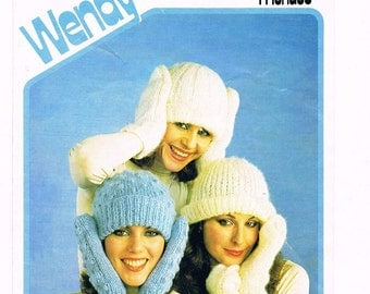 Adults Womans Bobble Hat & Matching Mittens. Bobble Hat Knitting Pattern, Ladys Mitten Pattern, Womens Winter Set. Knitting pattern only.