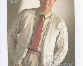 Mens Knitted Cardigan, Vintage Mens Cardigan, Mens Knitting Pattern, Mens Cardigan Pattern, Mens Vintage Cardigan. Knitting pattern only.