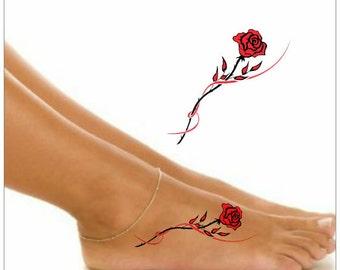 Temporary Tattoo 2 Rose Waterproof Ultra Thin Realistic Fake Tattoos