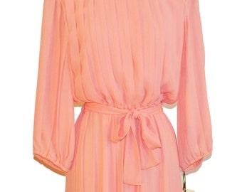 Vintage 80s Objectives Peach Dress item #2120