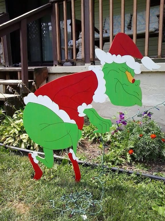 Grinch Christmas Sneaking Grinch Stealing Lights Outdoor Wood