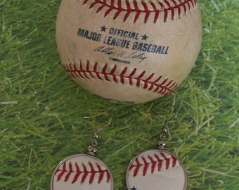 Baseball Earrings- Glass Back- Text- Round 1 1/4 inch