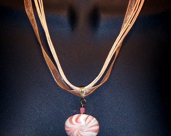 Peach Polymer Clay Necklace