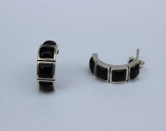 Vintage Sterling Silver Southwestern Onyx Pierced Earrings