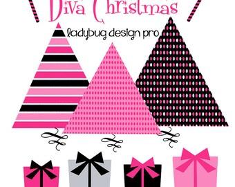 Diva Christmas Clipart Set