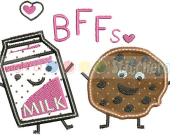 Cookies and Milk BFF's Applique Design -In Hoop sizes: 4X4 , 5 x 7, 9x9, - Instant Download - for Embroidery Machines