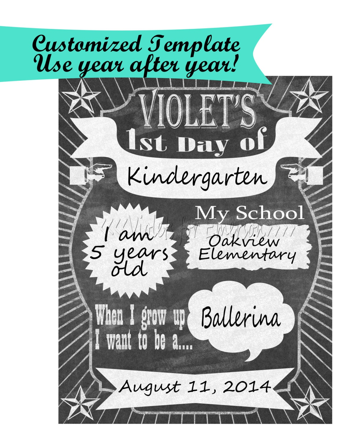 First day of school chalkboard sign photo prop for your for First day of school sign template