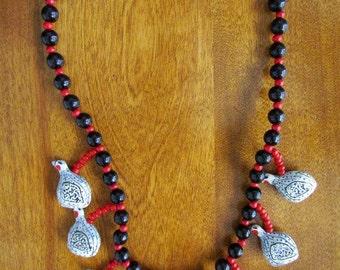 """Handmade/Vintage Papier Mache """"Pheasants"""" Necklace"""